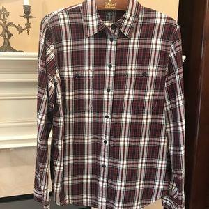 Lauren Ralph Lauren Shirt, plaid button down Med.